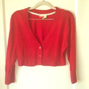 ModCloth Red Cropped Cardigan sz L